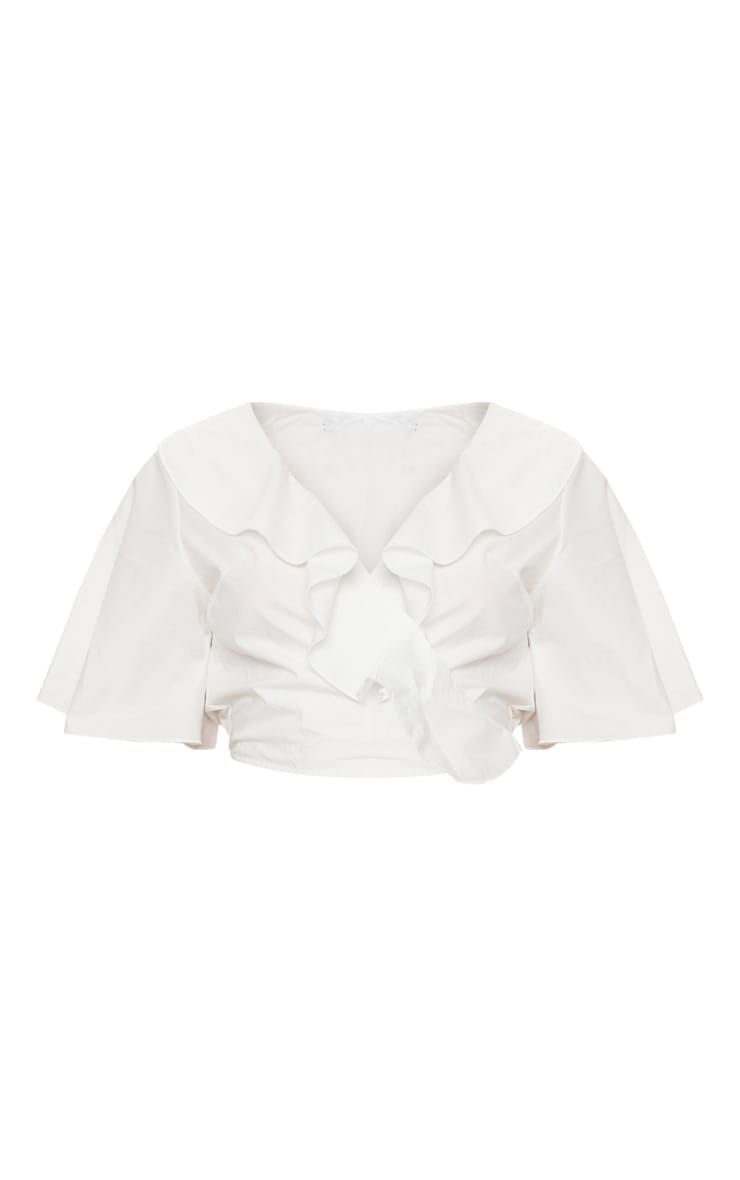 White Frill Wrap Front Crop Blouse 3