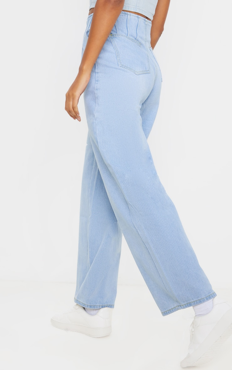 Light Wash Corset Seam Detail High Waisted Mom Jeans 5