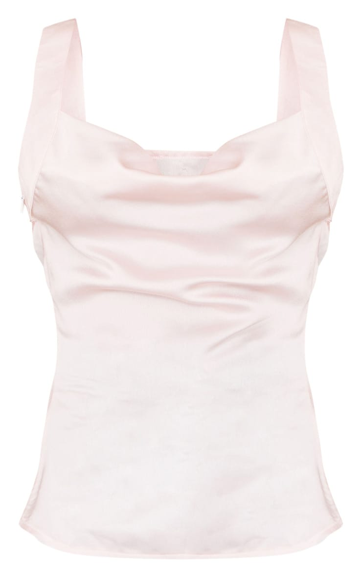 Light Pink Satin Thick Strap Cowl Neck Cami Top 5