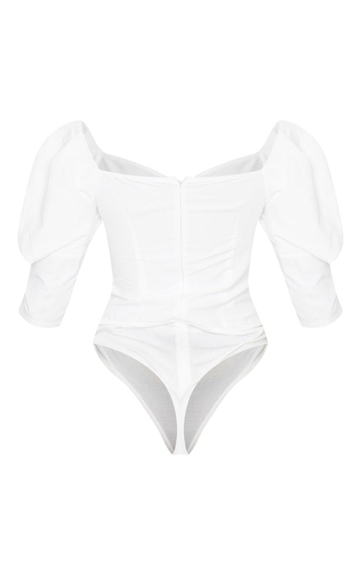White Woven Puff Sleeve Bodysuit 4