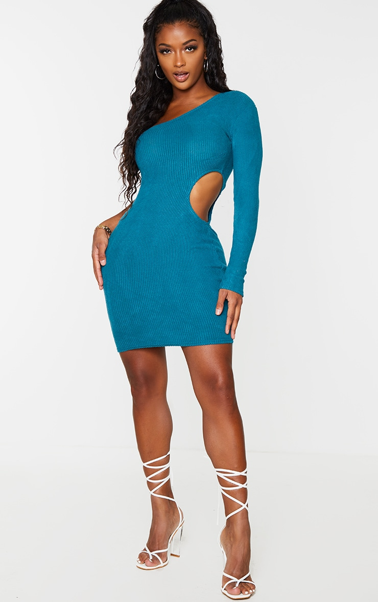 Shape Turquoise Brushed Rib One Shoulder Cut Out Bodycon Dress 1
