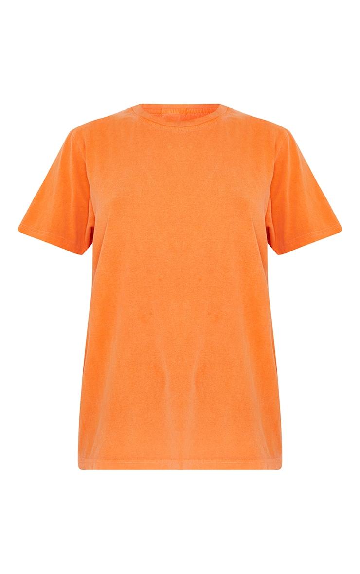 Orange LA Circle Print Washed T Shirt 5