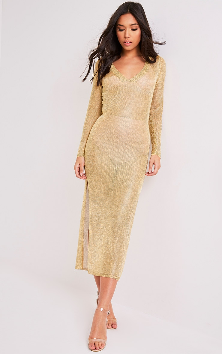 Audriane Gold Metallic Knitted Split Midi 4