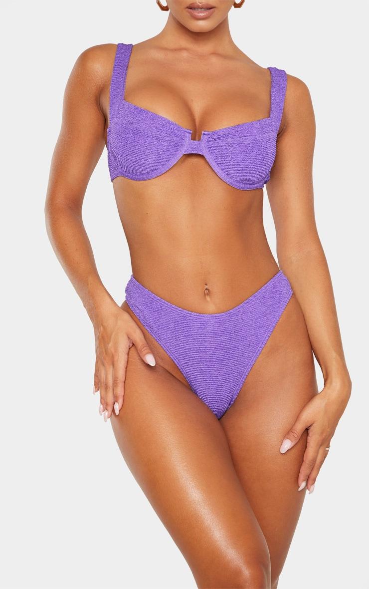 Bas de maillot de bain cheeky crêpé violet 1