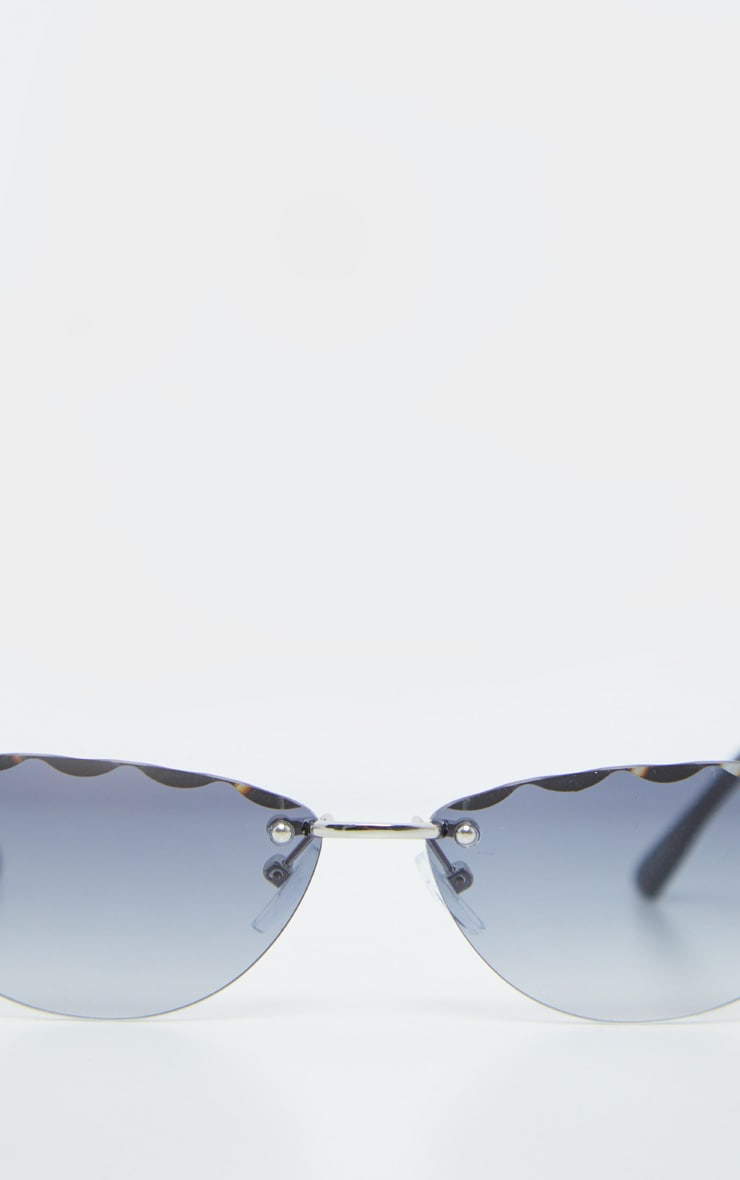Grey Faceted Edge Cat Eye Sunglasses 3