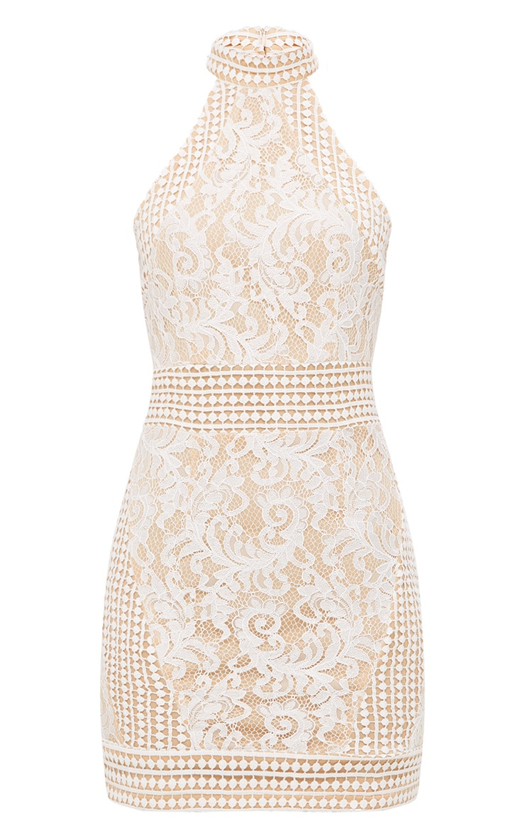 White High Neck Lace Crochet Bodycon Dress 3