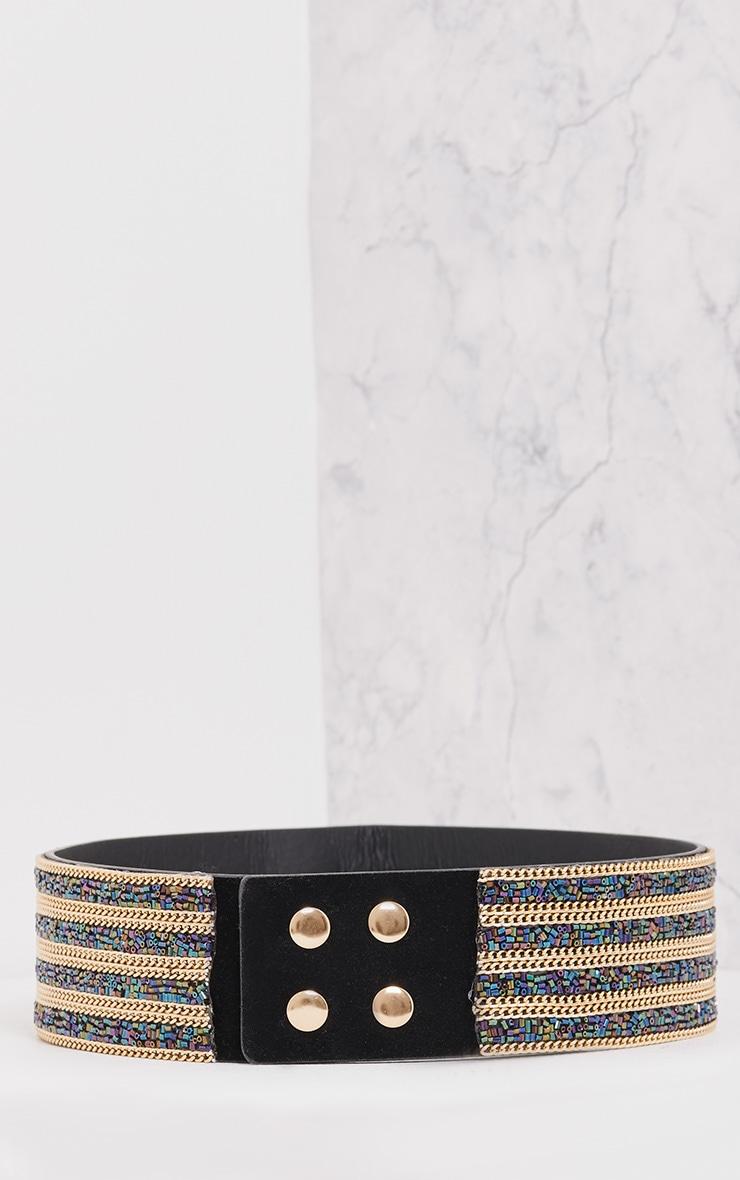 Selia Purple & Emerald Gold Chain Waist Belt 4