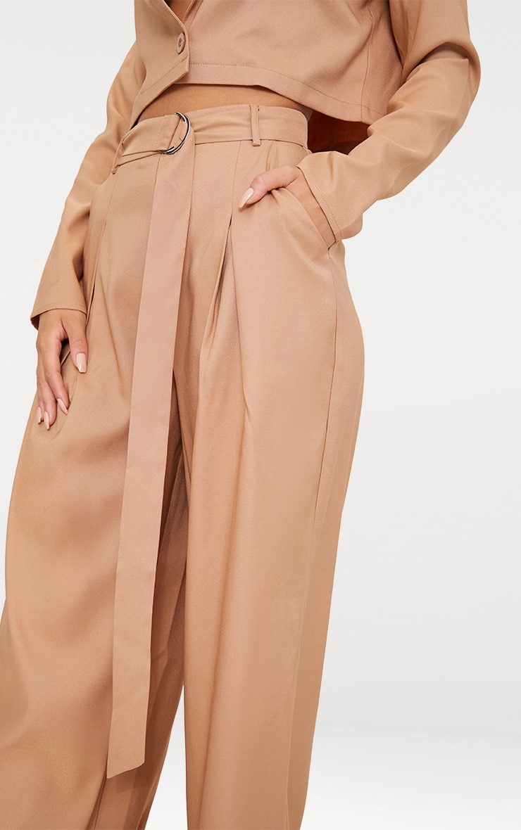 Camel Wide Leg Tie Waist Trousers 5