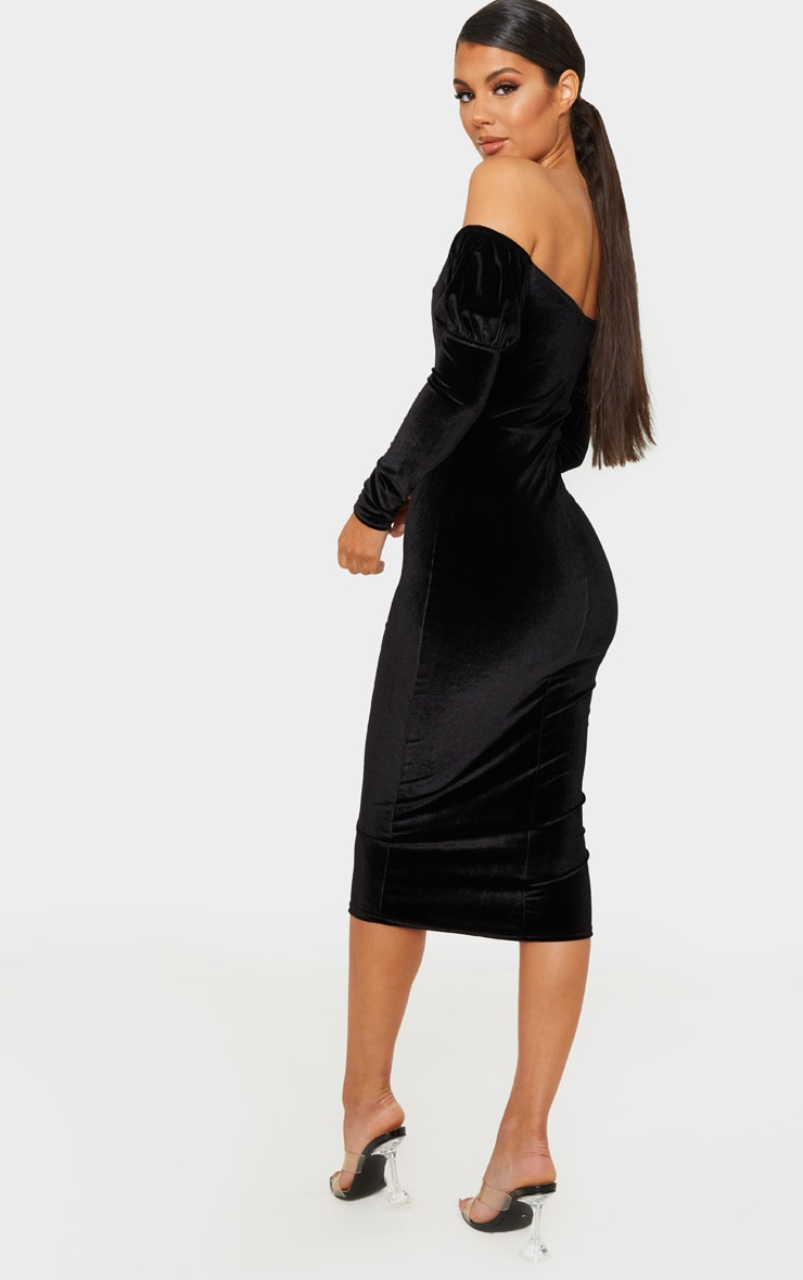 Black Velvet V Bar Puff Sleeve Midi Dress 2