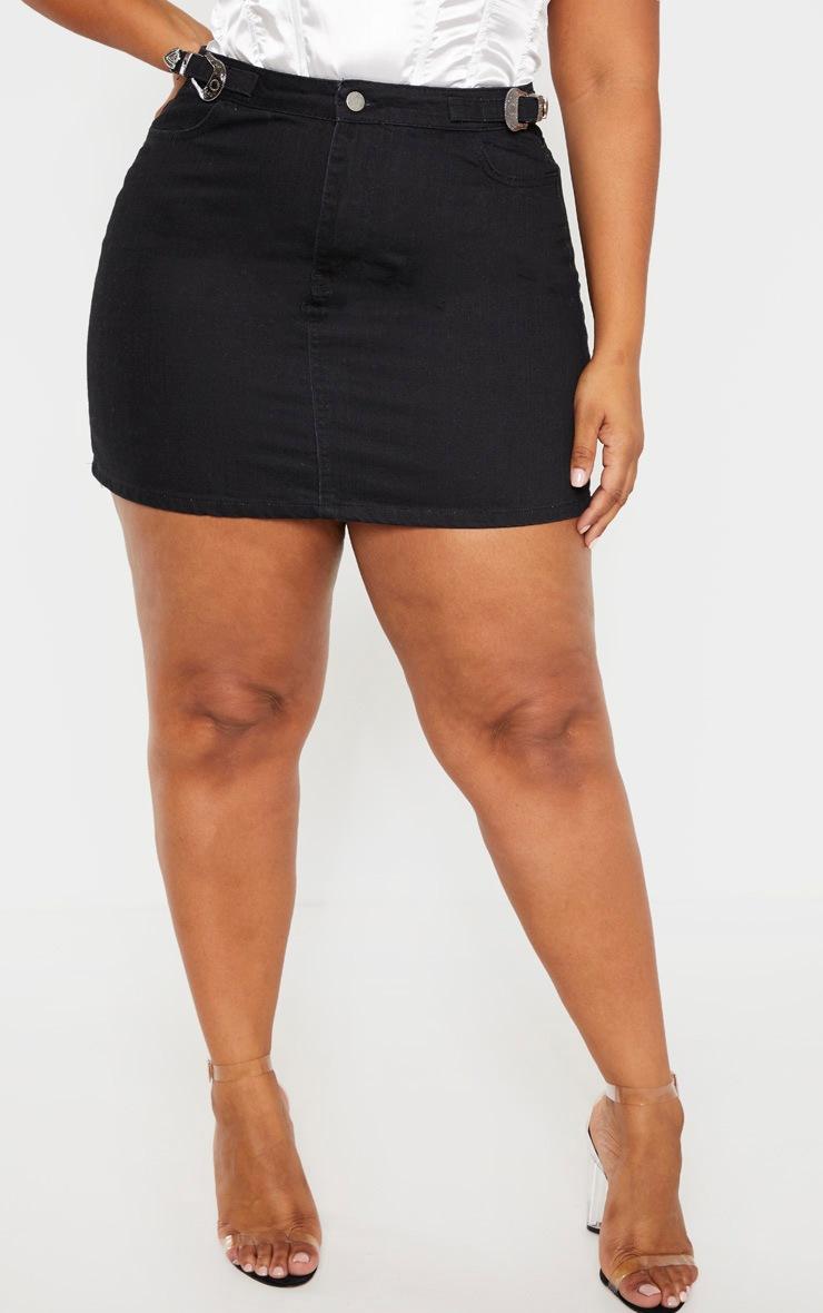 Plus Black Buckle Detail Denim Skirt 2