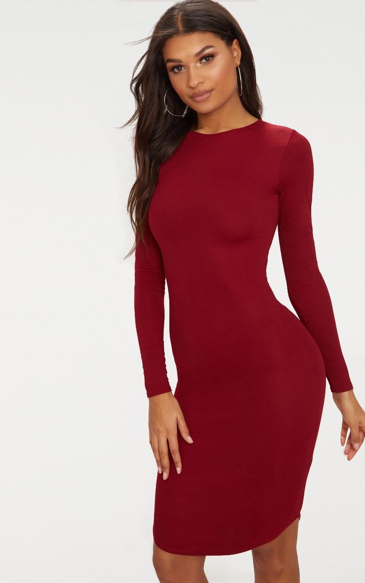 Burgundy Long Sleeve Curved Hem Midi Dress 1