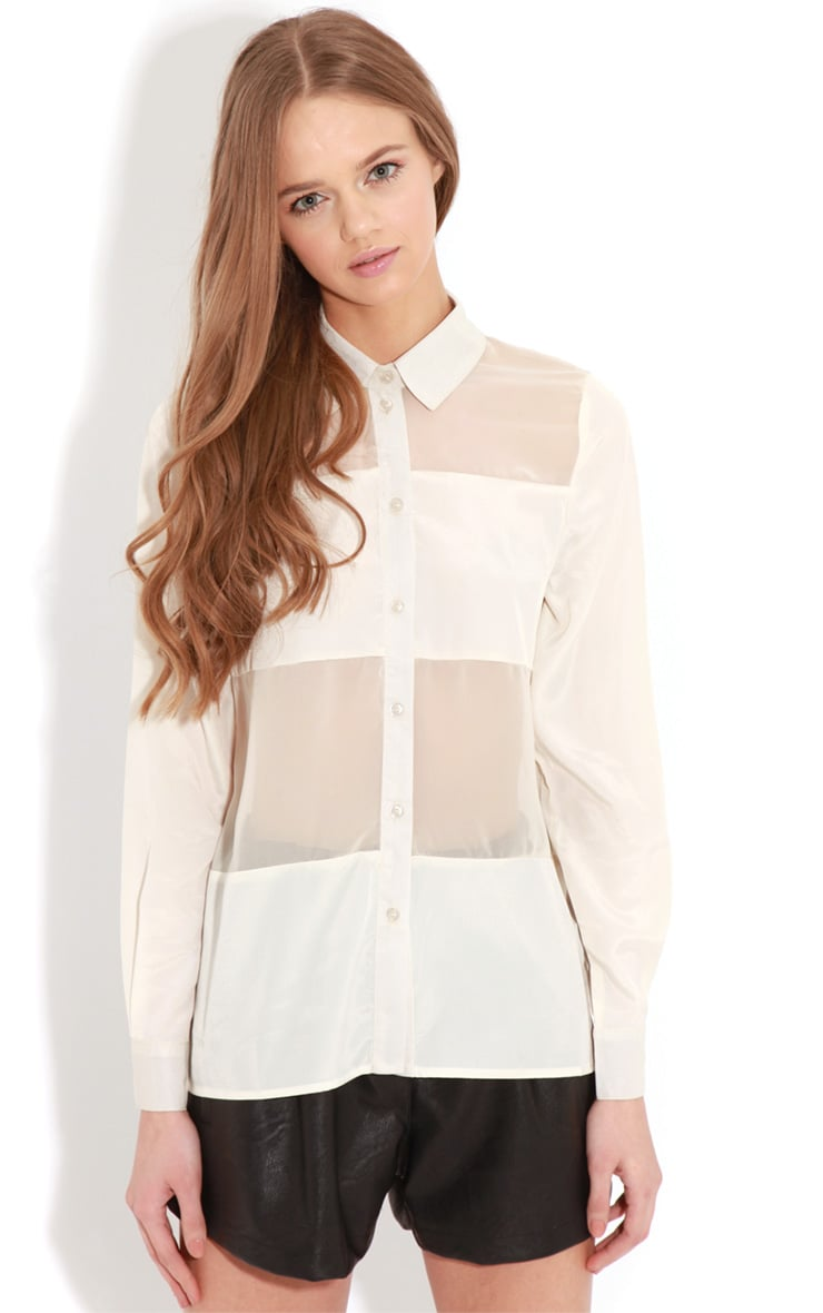 Helena Cream Mesh Panel Blouse   1
