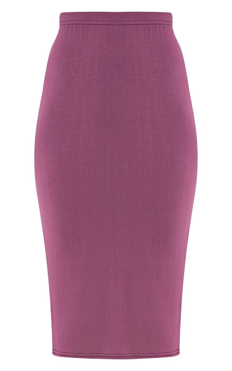 Basic Aubergine Jersey Midi Skirt 3