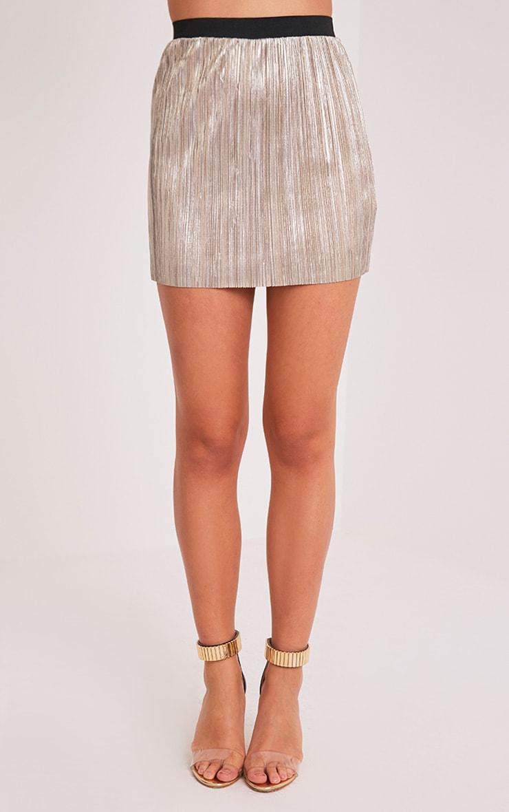 Saira Gold Metallic Pleated Mini Skirt 2