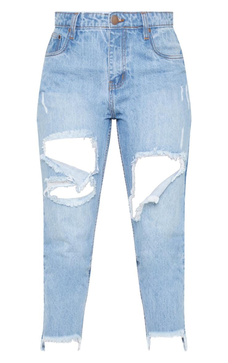 Tall Light Wash Distressed Frayed Hem Jeans 3