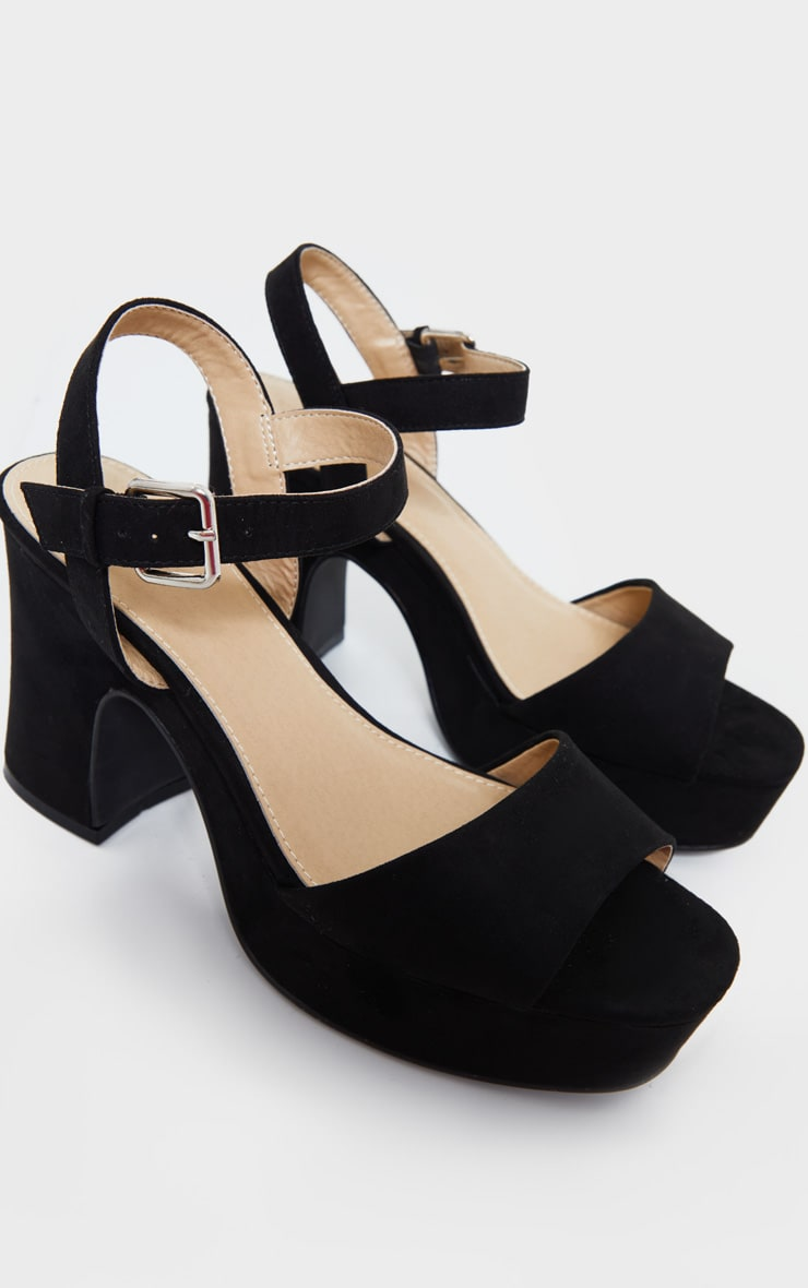 Black Faux Suede Platform Block Heel Sandals 3