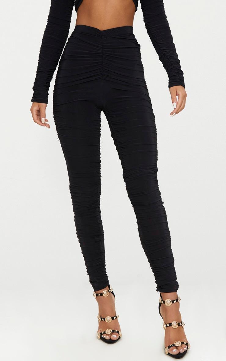 Black Slinky Ruched Legging  2