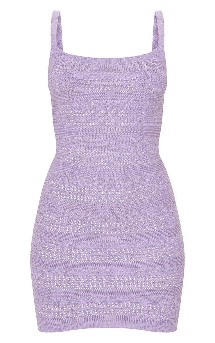 Lilac Crochet Knitted Mini Dress 5