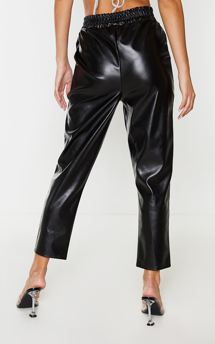 Black Faux Leather Crop Skinny Trousers 3