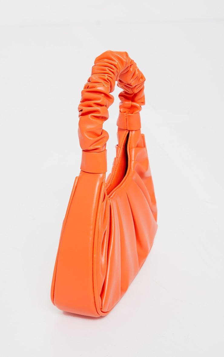 Orange Extreme Ruched Handle Shoulder Bag 3