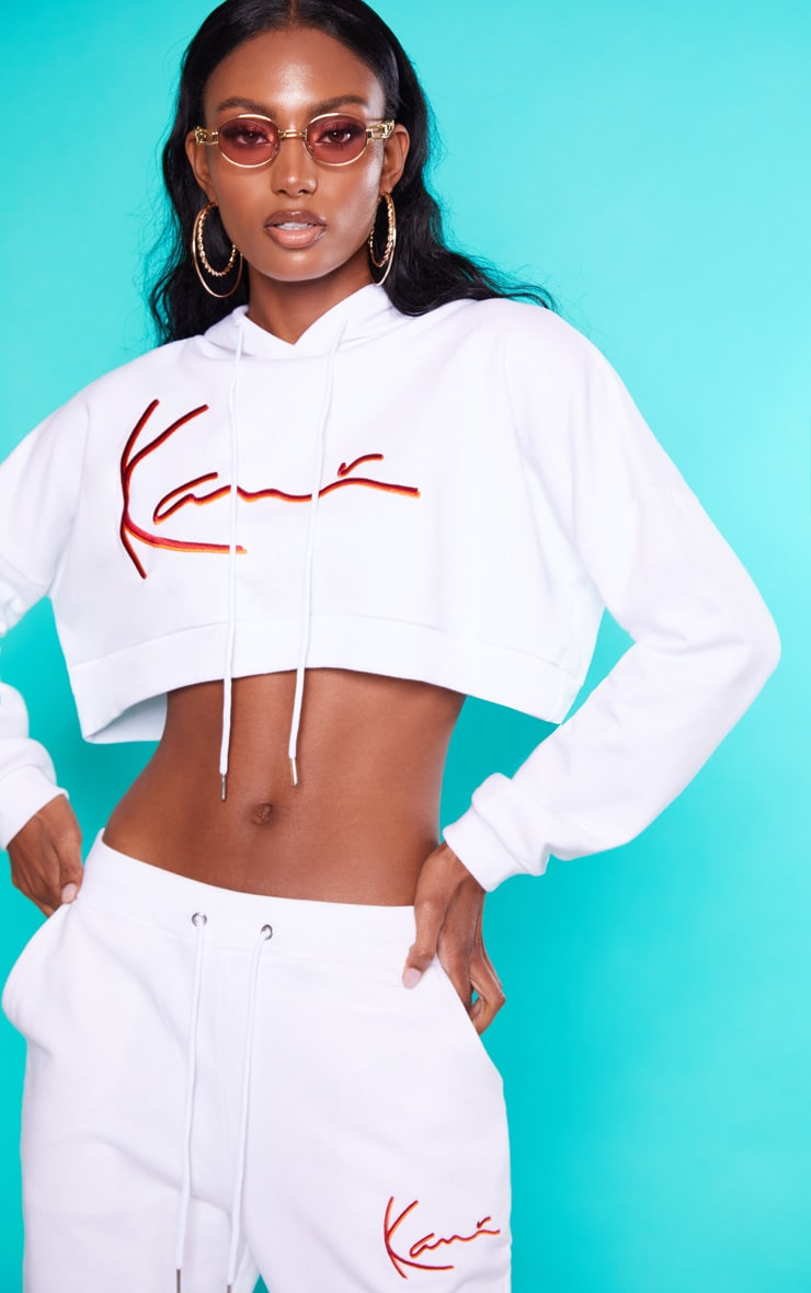 KARL KANI White Embroidered Crop Hoodie 5