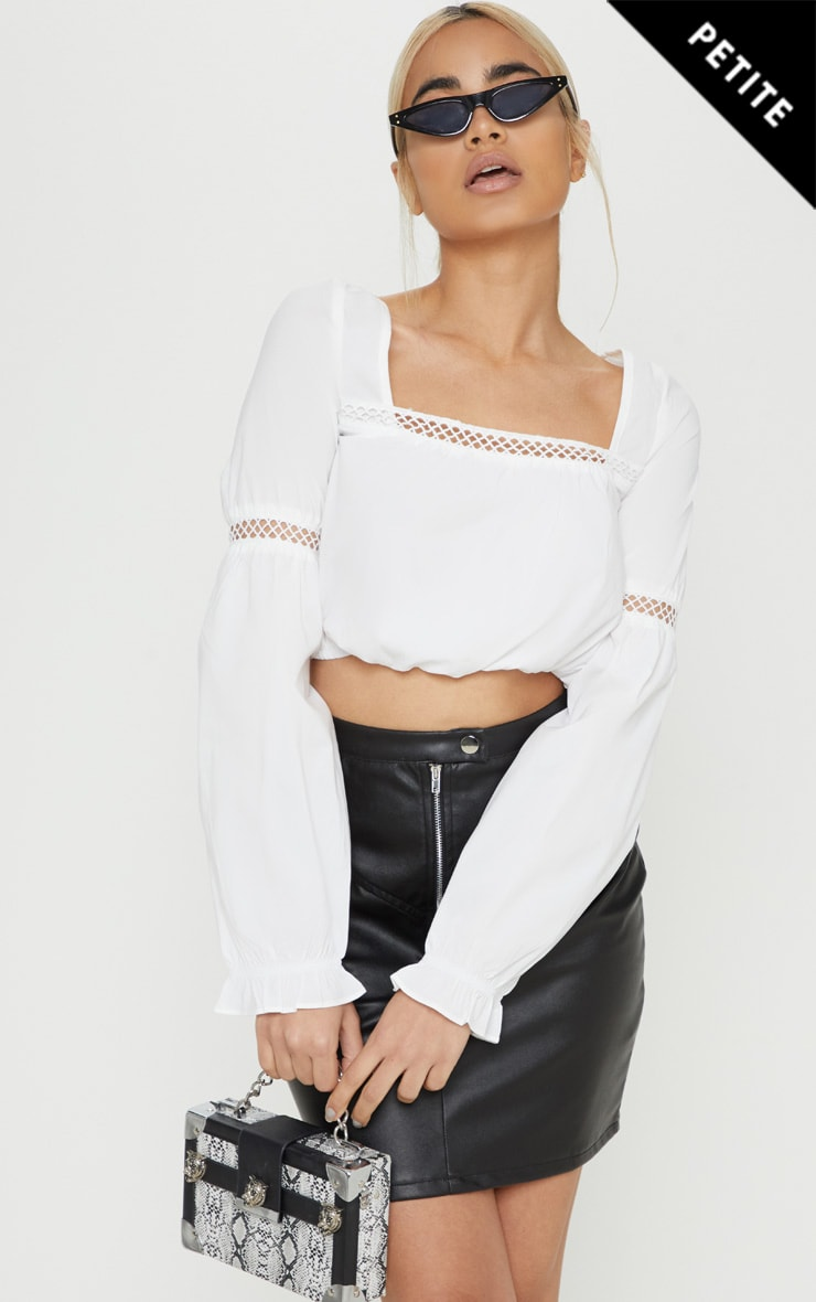 Petite White Cropped Puff Sleeve Lace Detail Blouse