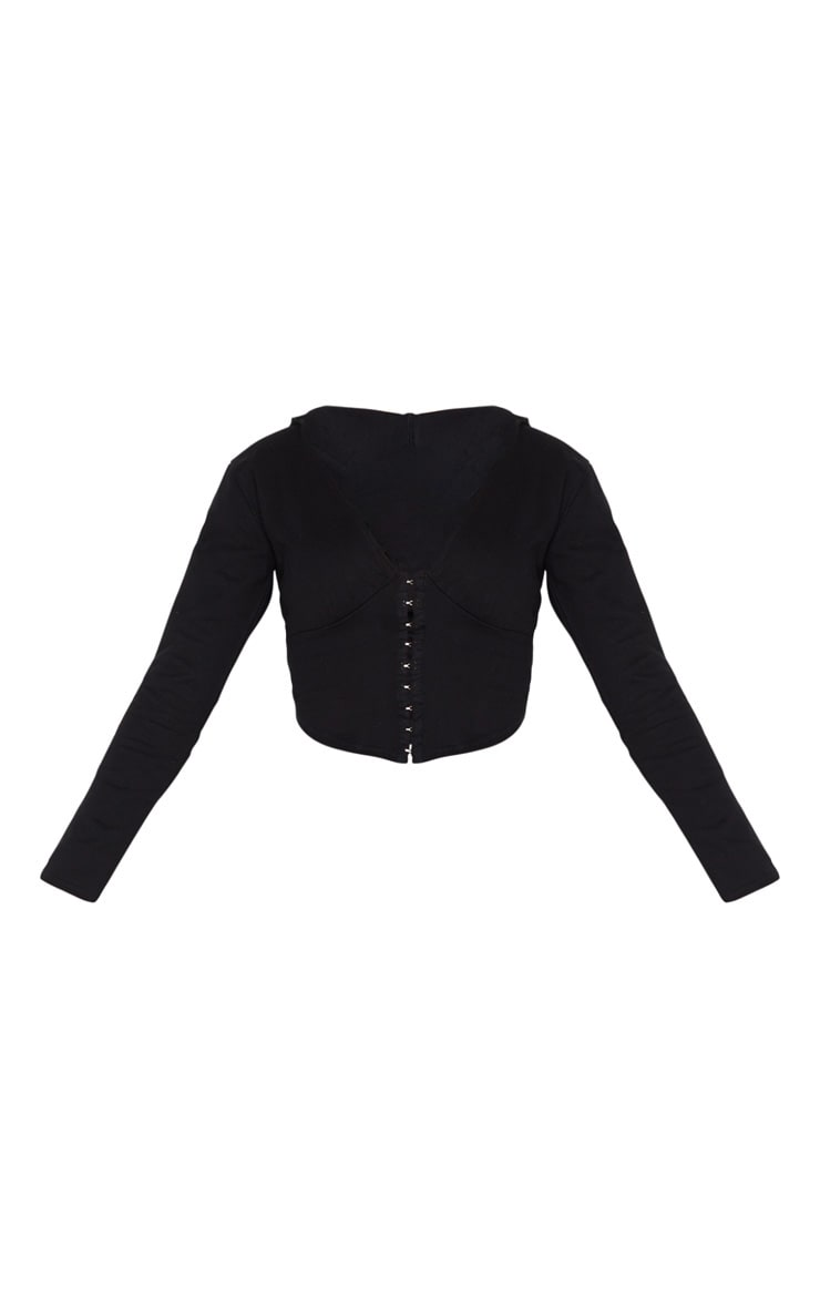 Black Hook And Eye Corset Detail Hoodie 5