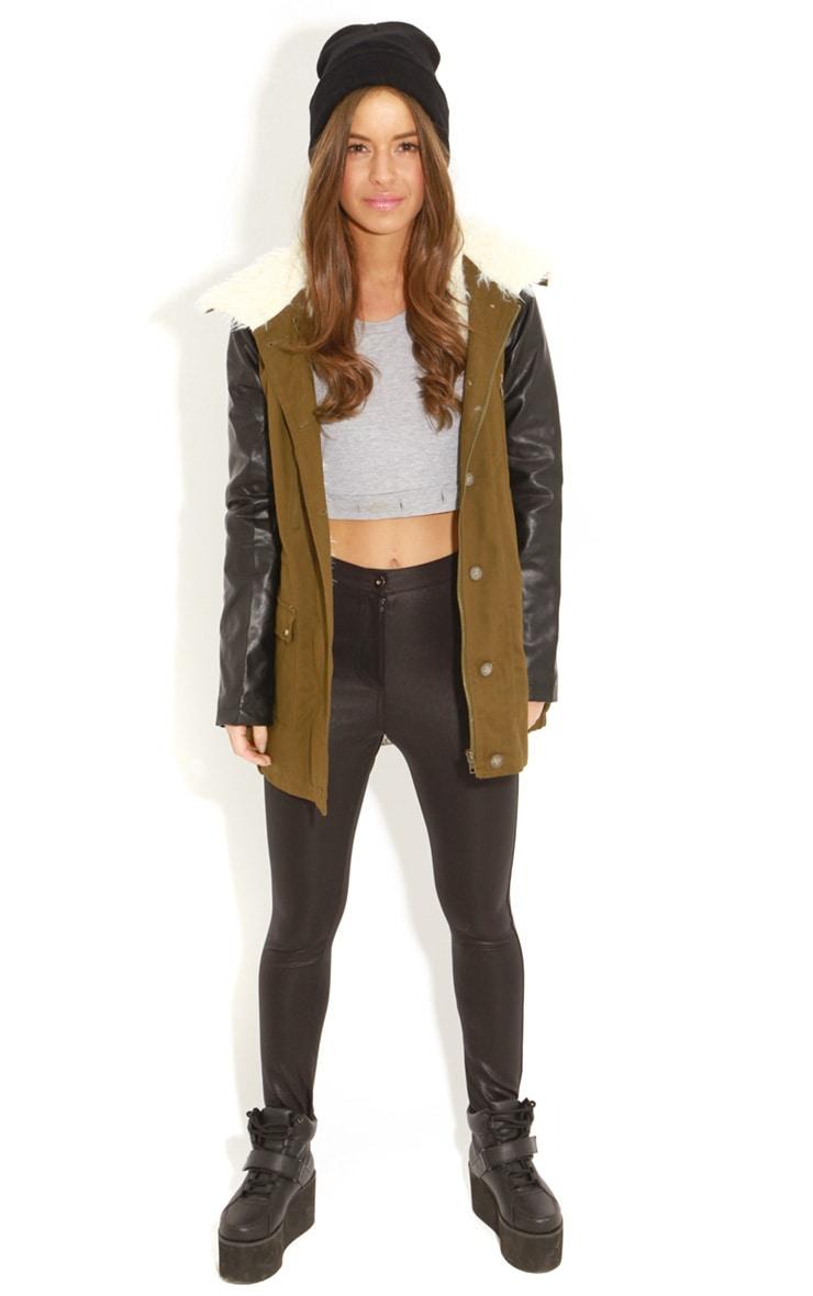 Roxy Khaki Faux Leather and Shearling Parka Coat 3