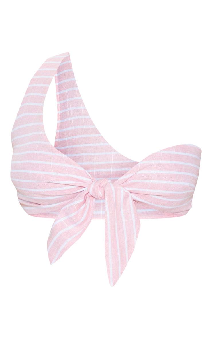 Petite Pink Stripe Tie Front One Shoulder Crop Top 3