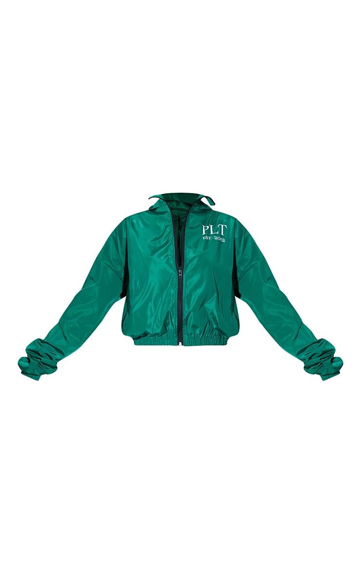 PRETTYLITTLETHING Green Oversized Hooded Shell Jacket 5