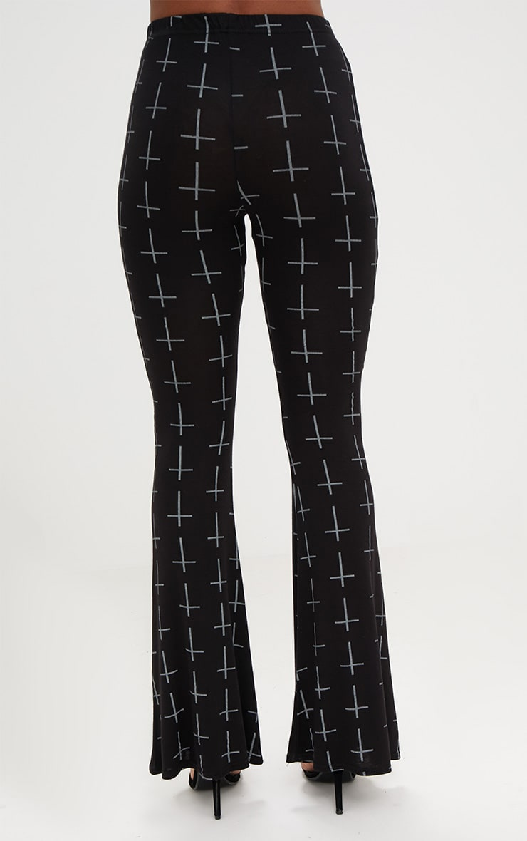Black Jersey Graveyard Cross Print Flared Trousers 4