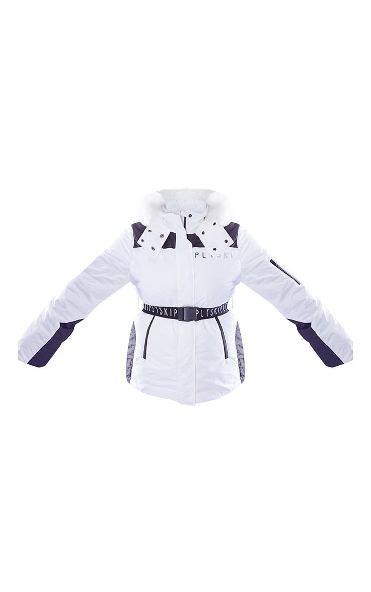 PRETTYLITTLETHING Plus Ski Monochrome Faux Fur Hooded Belted Ski Jacket 5