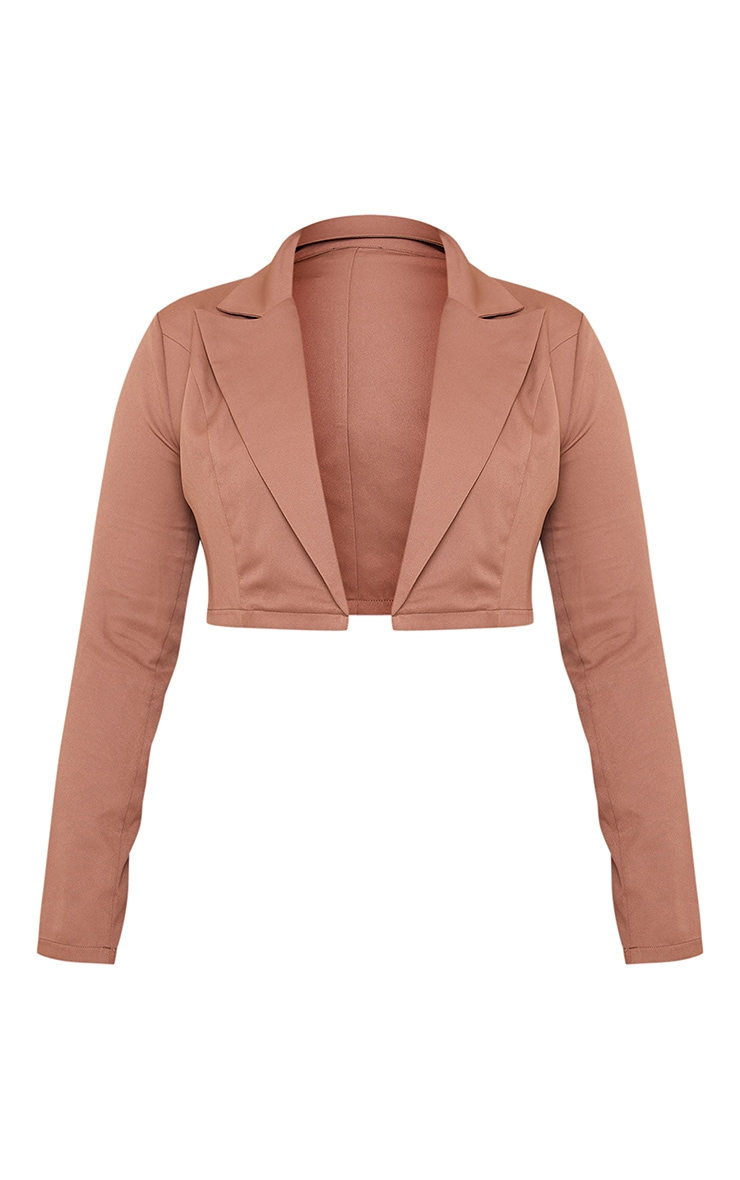 Plus Chocolate Brown Cropped Woven Blazer 4