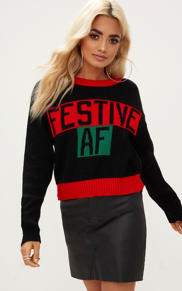Black Festive AF Christmas Jumper 1