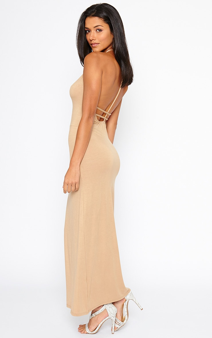 Kerry Camel Caged Back Maxi Dress 4