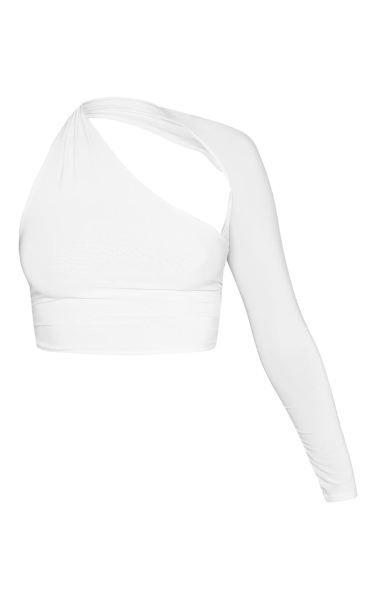 Cream One Shoulder Asymmetric Long Sleeve Crop Top 3