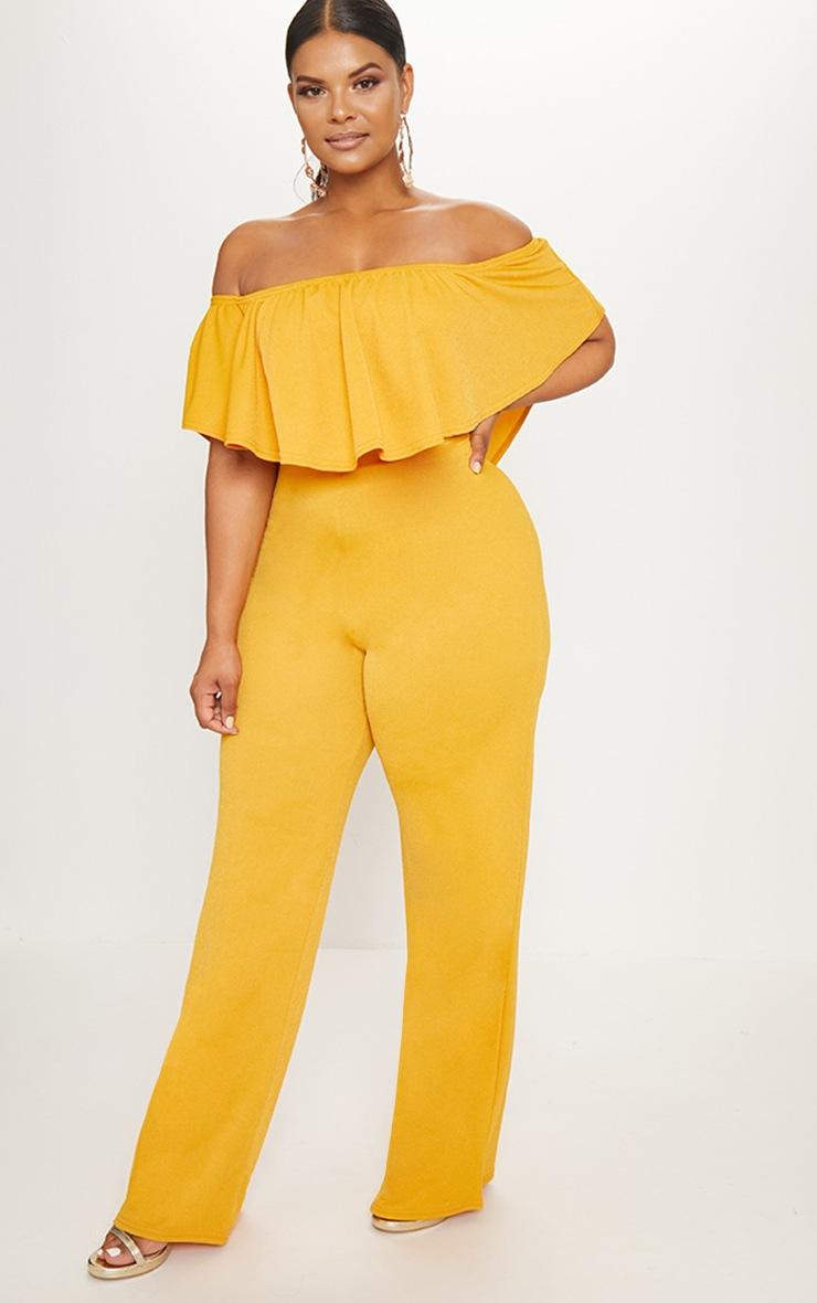 Plus Mustard Bardot Frill Culotte Jumpsuit 4