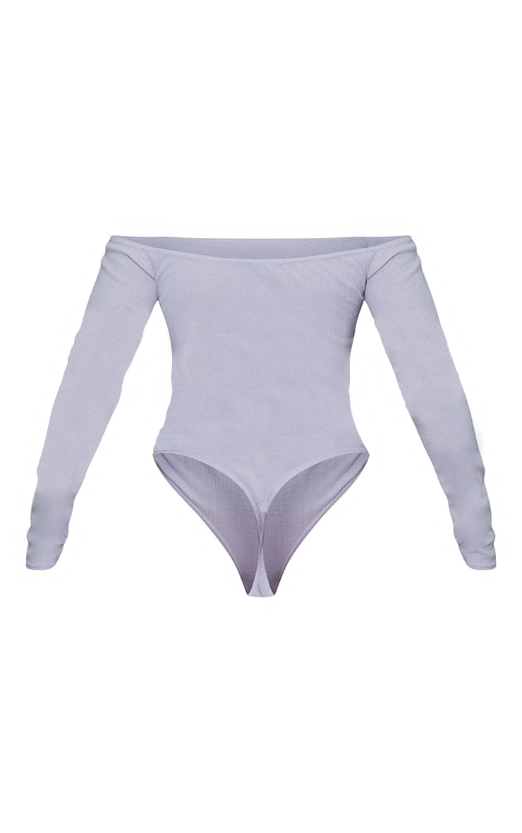 Ash Grey Bardot Brushed Rib Bodysuit 6