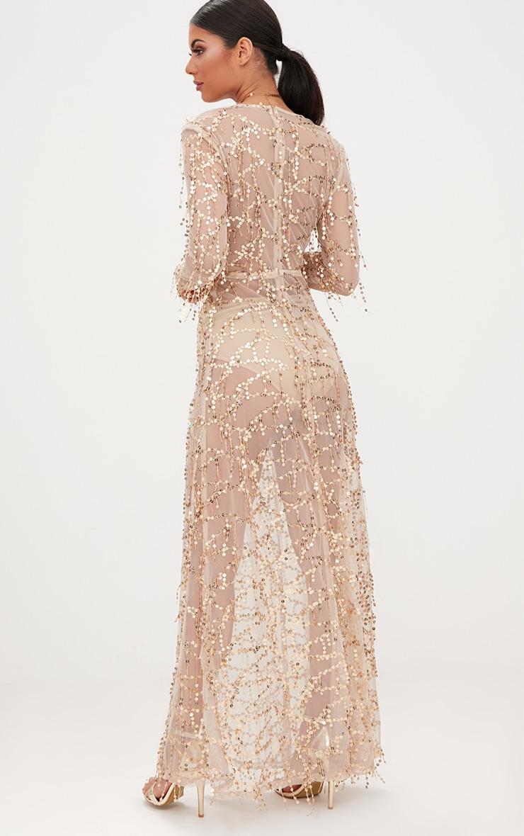 Valentina robe maxi or à manches longues et sequins 2