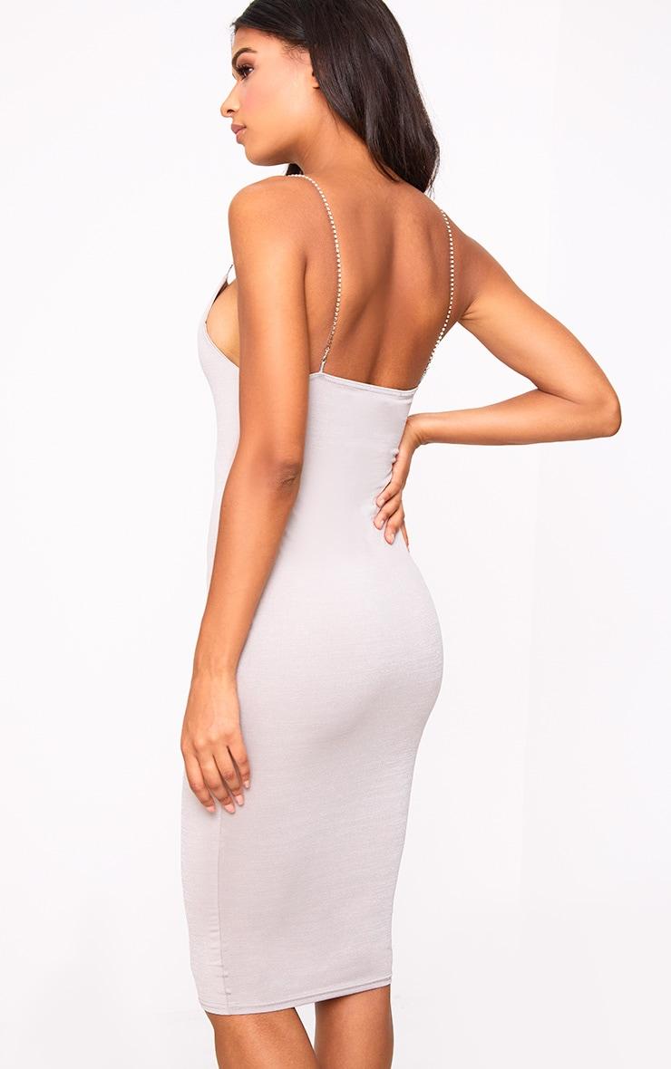 Grey Slinky Diamante Detail Midi Dress 2