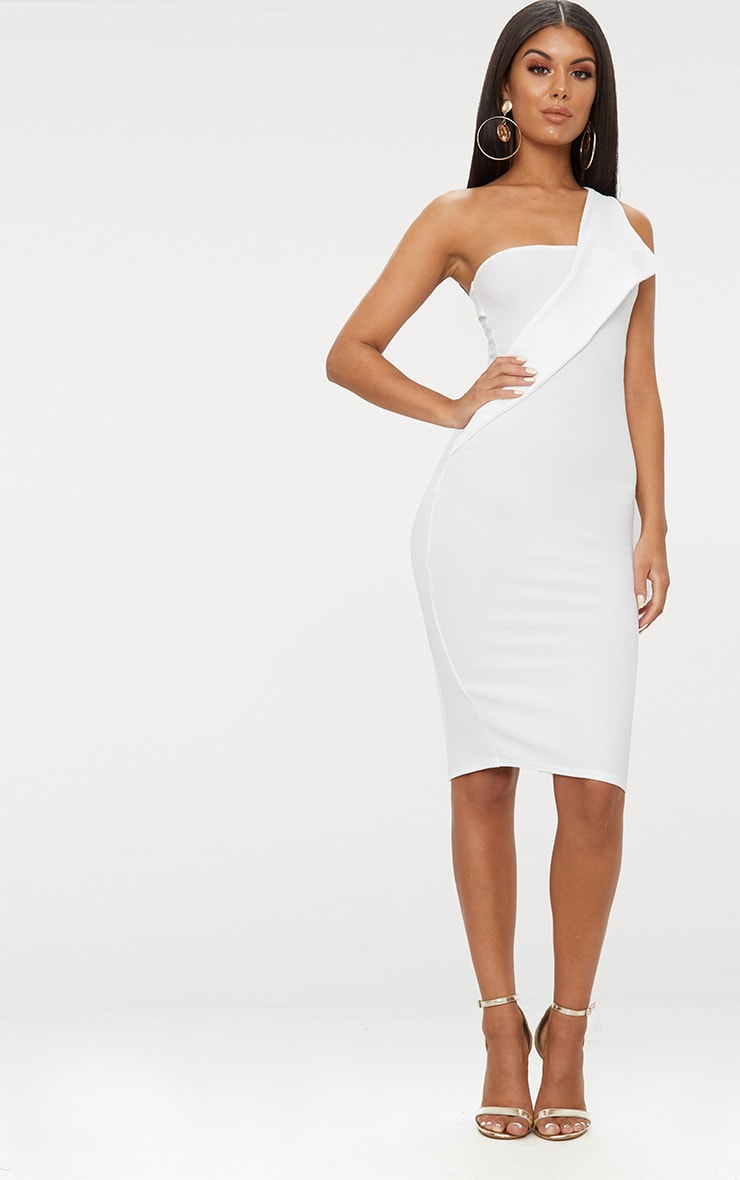 White Asymmetric Strap Midi Dress 1