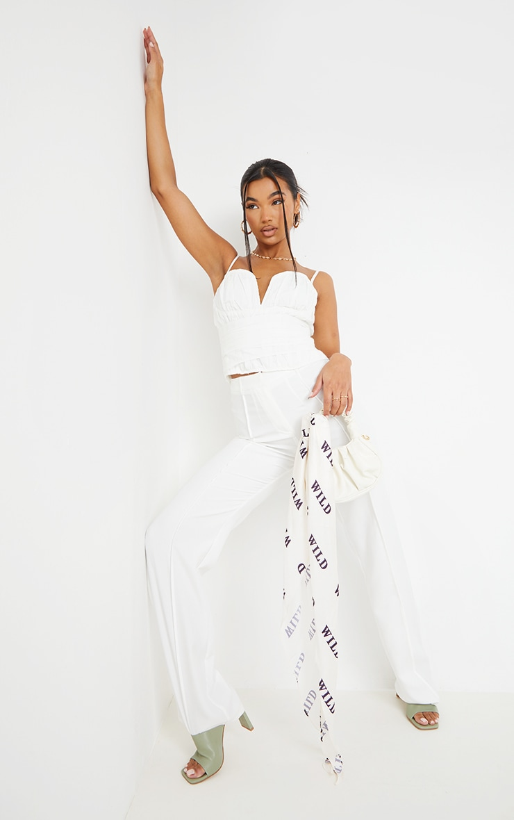 White Woven Pleated Structured Waist Corset 3