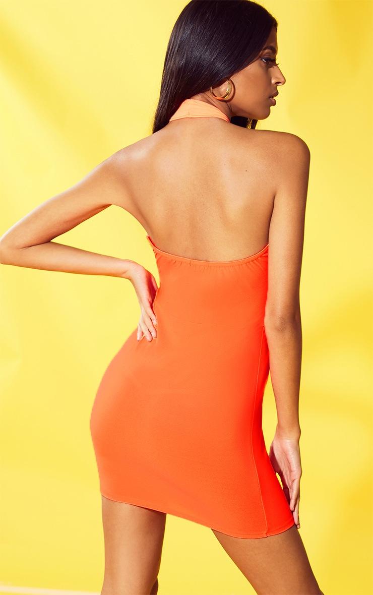 Neon Orange Cross Neck Bodycon Dress 2