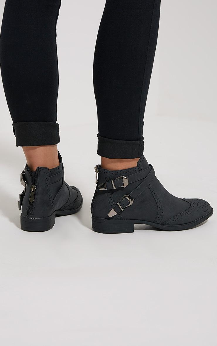 Phia Black Ankle Buckle Detail Chelsea Boots 2