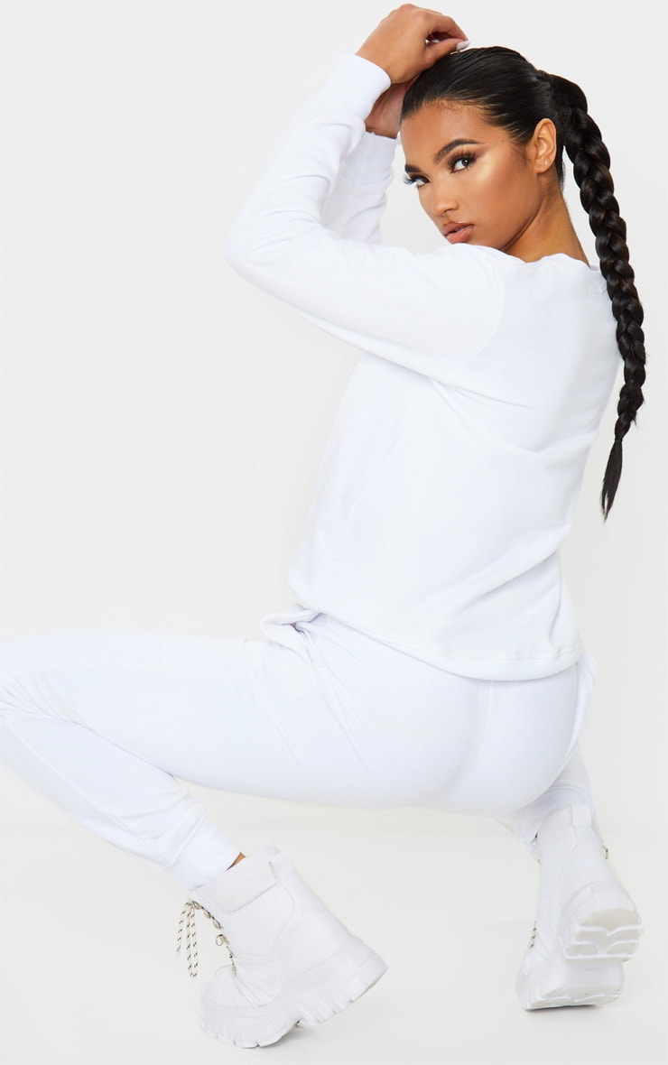 Basic White  Crew Neck Sweater 2
