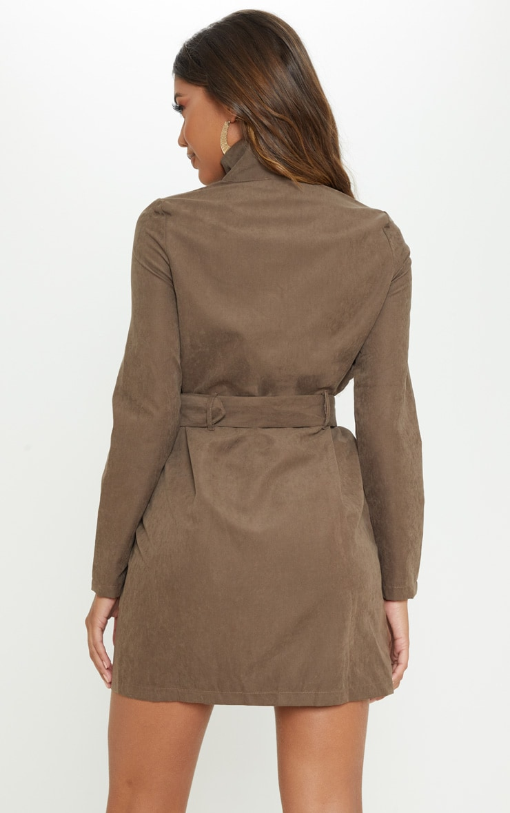 Chocolate Faux Suede Button Front Belted Cargo Dress 2