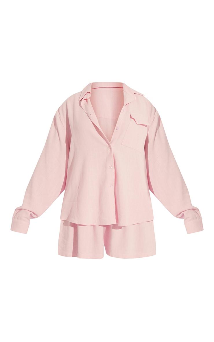 Pale Pink Oversized Long Sleeve Shirt With Pocket Short PJ Set 5