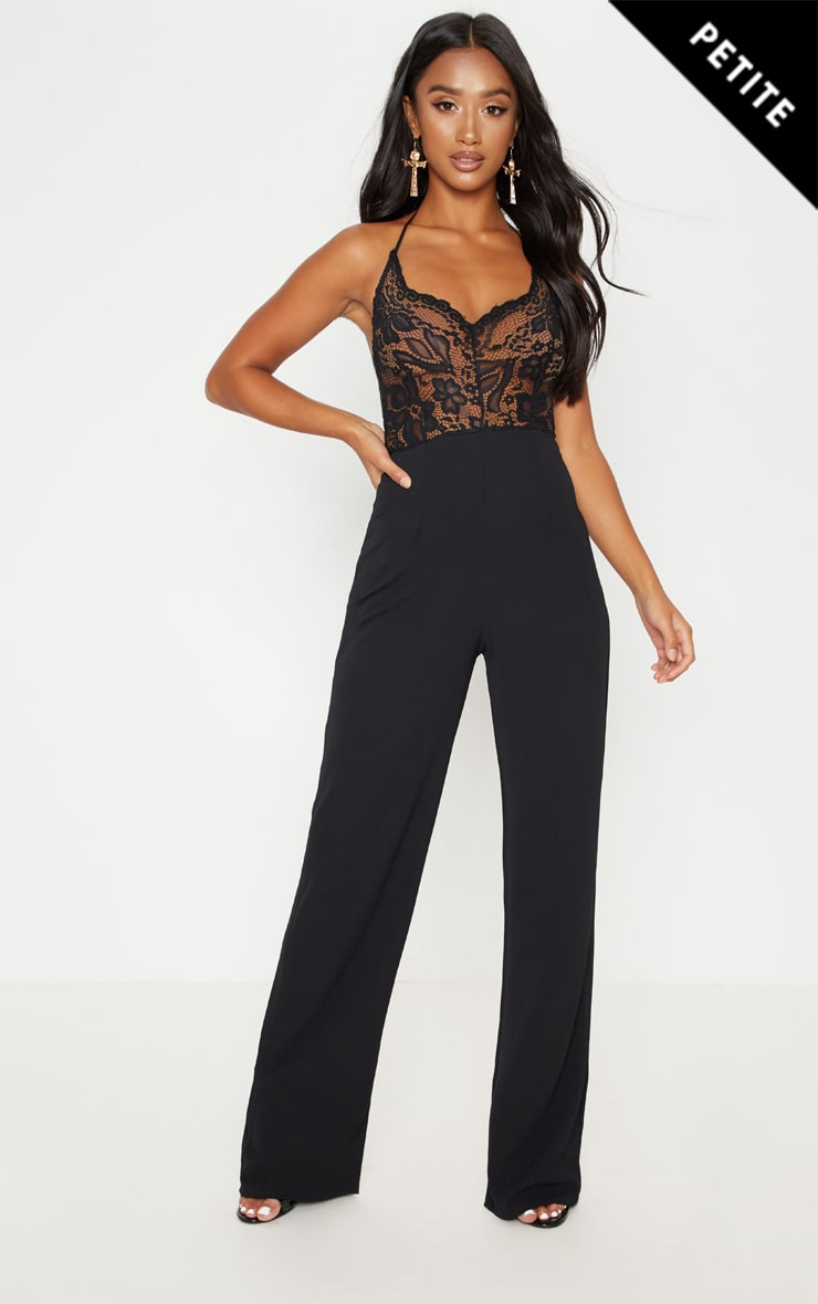 Petite Black Halterneck Lace Wide Leg Jumpsuit