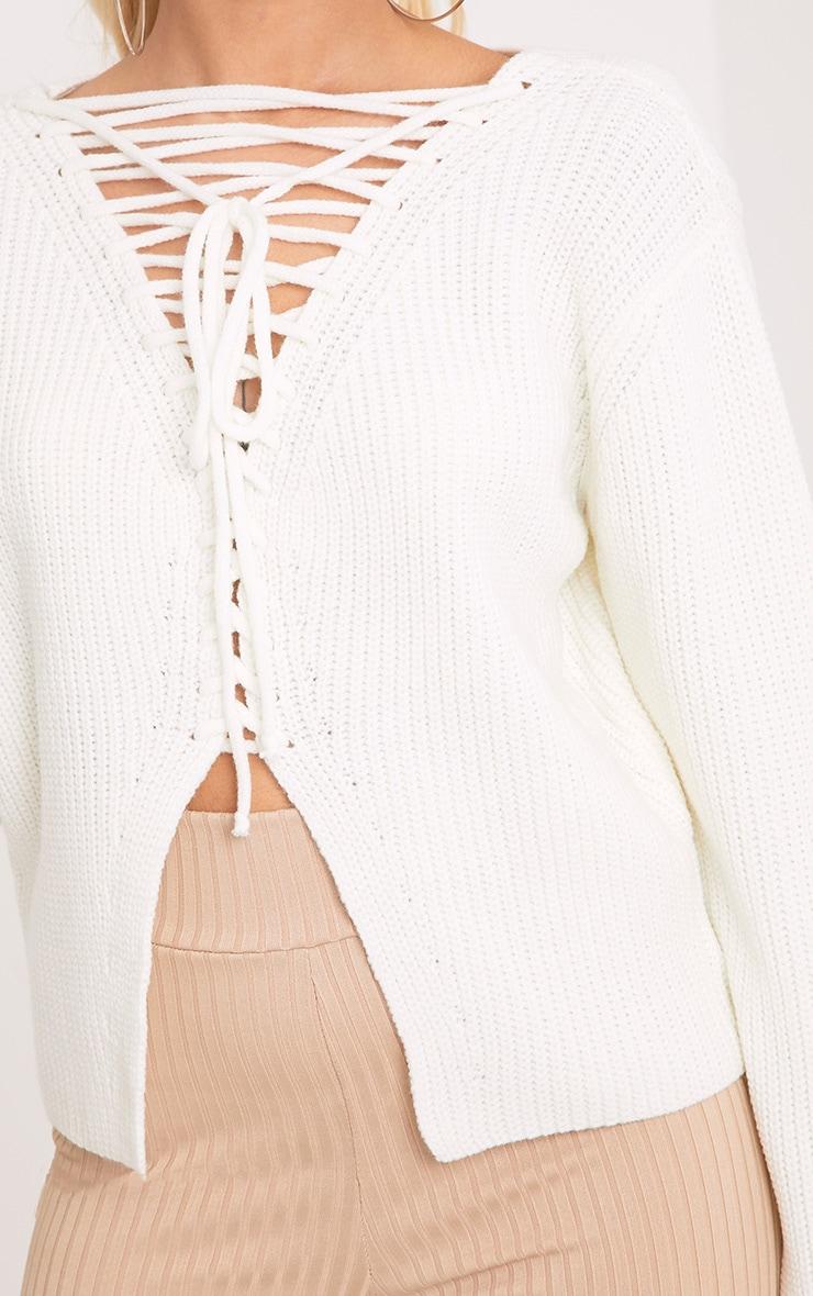 Cora Cream Cropped Knit Tie Jumper 5