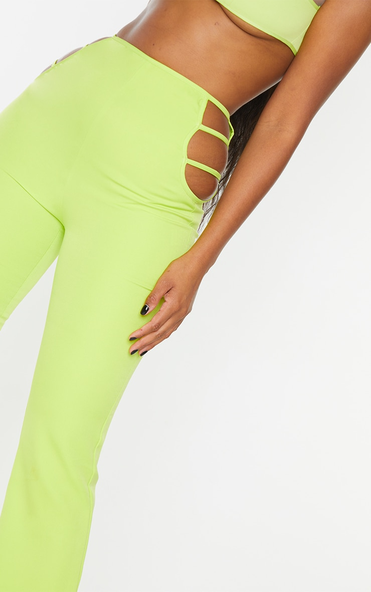 Lime Woven Cut Out Detail Skinny Flared Trousers 5